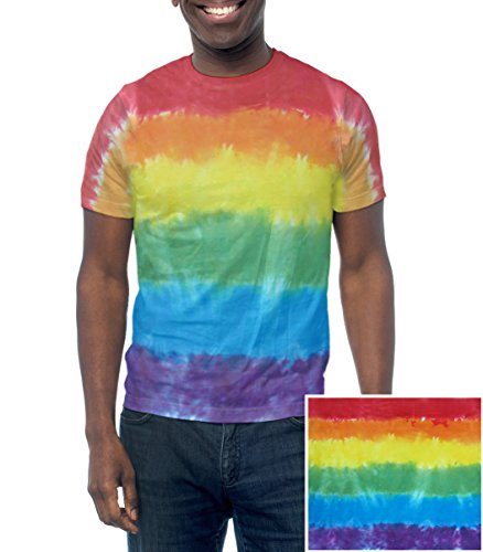 Rainbow Flag Tie Dye T-Shirt – Unisex Sport Shirt – Handmade  Unique – LGBT Lesbian and Gay Pride Apparel and Clothes (Large)
