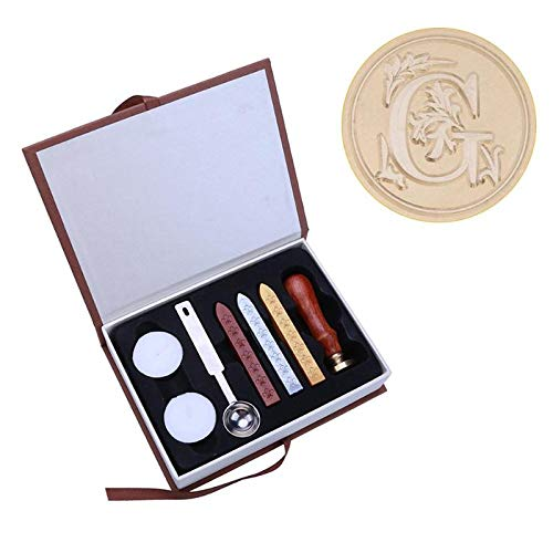 JULUJ Gift Box 26 English Alphabets Metal Hot Sealing Wax Clear Stamps Set Dia 25mm Stamps Wax Seals Delicate Stamps - G