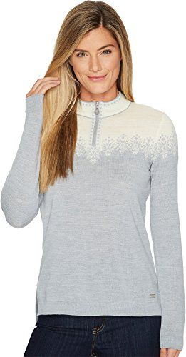 DALE OF NORWAY Women's Snefrid Sweater T-Grey/Off-White Large