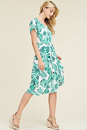 Dress Print Made Neck Flared Hem Ivory Mid in USA Round Paradise Short Palm Sleeves Pocket SHOPGLAMLA Floral vn4AxWP5