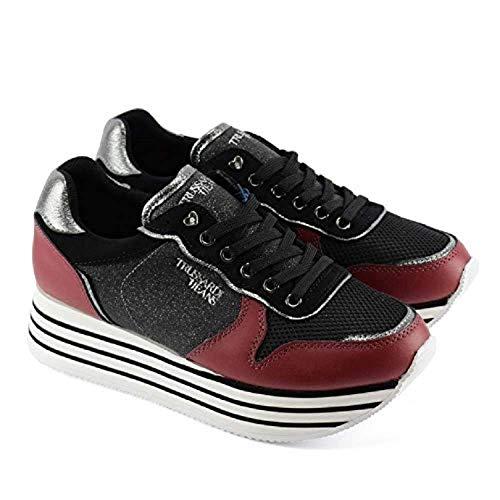 Bordeaux Sneakers Women's 79a00246 In Jeans Trussardi Pelle black Ef6vWq