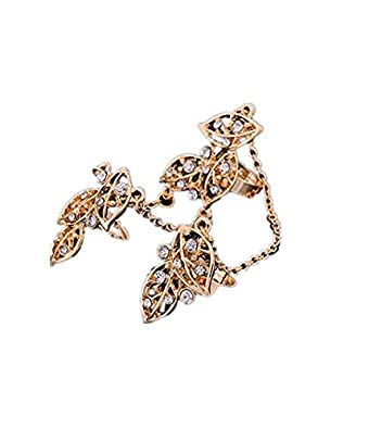 bca848aaf4 Buy TBOP Ring Personality fingertips Exquisite Diamond Leaves Double with Three  Fingers Chain Ring in Golden Color Online at Low Prices in India | Amazon  ...