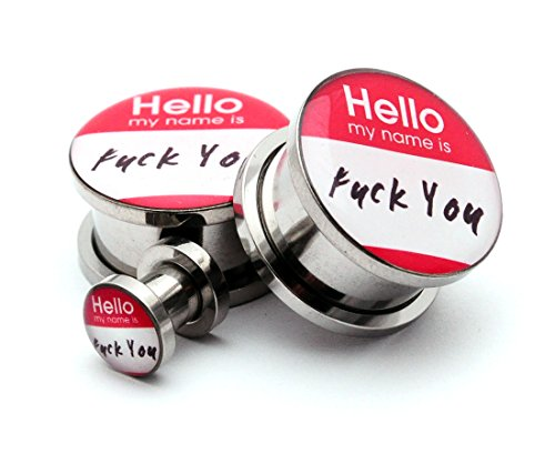 Screw on Plugs - Hello My Name Is Picture Plugs - Sold As a Pair (0g (8mm))