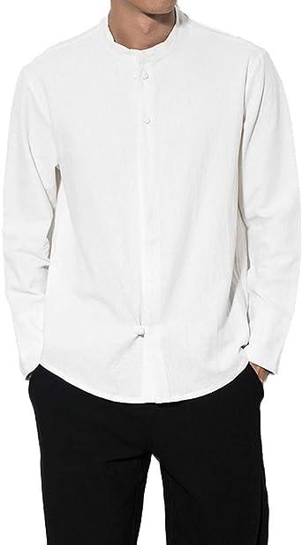 AnyuA Camisa de Lino, de Kung Fu, con Abotonar, Clásico, Estilo Chino, para Hombre: Amazon.es: Ropa y accesorios