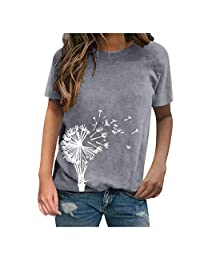 OCEAN-STORE Women T-Shirt Dandelion Print Short Sleeve Casual Tanic Summer Shirt Daily Blouse