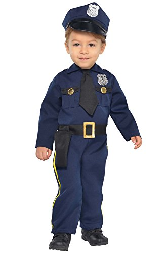 Suit Yourself Cop Costume for Babies, Size 0 Months to 6 Months, Includes a Navy Blue Jumpsuit and a Matching Hat]()