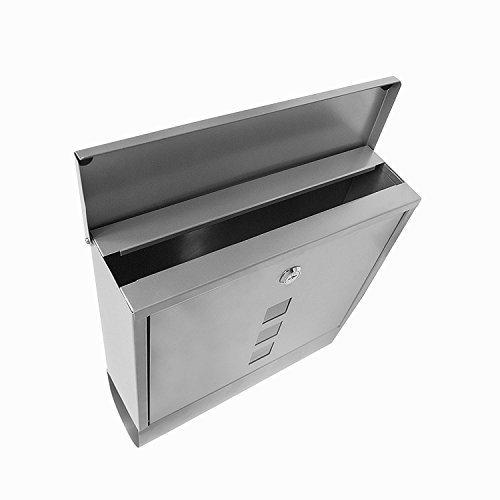 Voluker Wall Mounted Mailbox Stainless Steel Mailbox Locking Vertical Mailbox Modern Postbox Silver by Voluker (Image #3)
