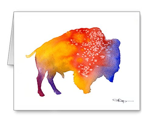 Buffalo - Set of 10 Abstract Watercolor Animal Note Cards With Envelopes