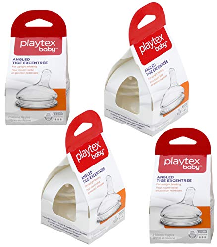 Playtex Baby Angled Fast Flow Silicone Nipples, 8 Count