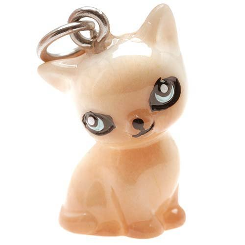 Hand Painted 3-D Seated Siamese Kitty Cat Jewelry Charm Lightweight 21mm (1) -
