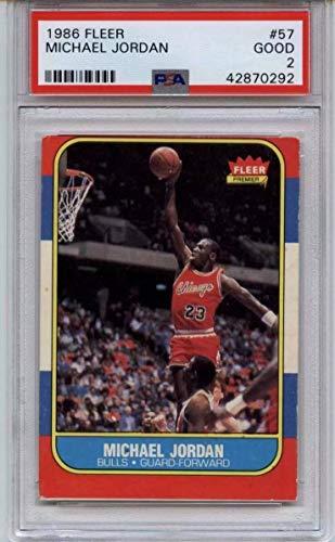 e7c93dde24048 1986 Fleer Michael Jordan Basketball Card #57 PSA Graded Good 2