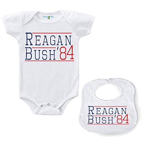 Snappy Suits Reagan Bush '84 Vintage Style Romper & Bib Bundle Republican GOP Unisex Cute Infant Bodysuit SS (6-12 Months) ()