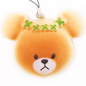Colgante móvil bollo panecillo oso peluche tostado flor verde Squishy