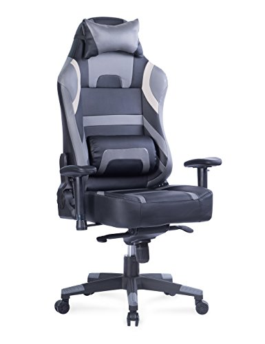 VON Racer Big and Tall Gaming Chair - Adjustable Tilt, Back Angle and 2D Arms Ergonomic High Back Racing Leather Executive Computer Chair, Detachable Headrest Lumbar Support, Grey