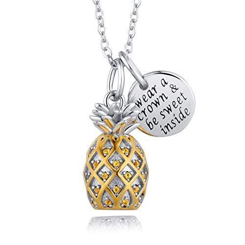 (JXJL Sterling Silver 3D Pineapple Pendant Necklace Inspirational Message Crystal Tropical Pineapple Gift Jewelry for Girls Women 18'')
