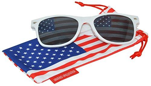 Classic American Patriot Sunglasses USA American Flag Lens White Frame OWL