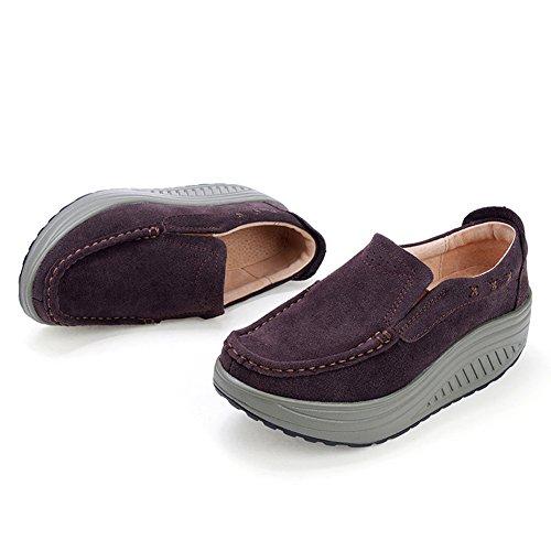 Stq Vrouwen Platform Sleehakken Comfortabele Slip Op Holle Loafers Suède Mocassins Sneakers 2122 Koffie