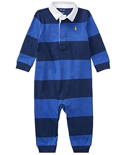 Ralph Lauren Baby Boys Striped Cotton Rugby Coverall (nb, Barclay Blue Multi) (Rugby Striped Lauren Ralph Shirt)