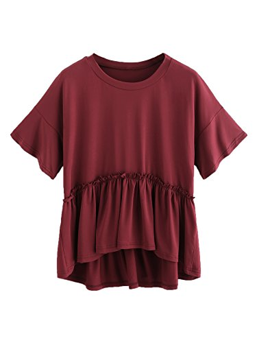 Romwe Women's Loose Ruffle Hem Short Sleeve High Low Peplum Blouse Top Burgundy X-Small