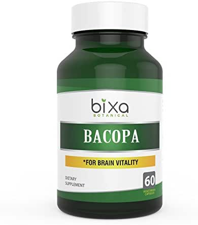 Brahmi/Bacopa Monnieri Extract Bacoside 20%, Natural Brain Tonic,Herbal Supplement for Increasing Intelligence & Improve Voice Quality Bixa Botanical Veg Capsules – 60 Count (450mg)
