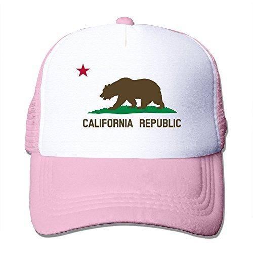 California Trucker Rosado blanco Cap oso de fresno color diseño República Mesh de rqZBrC