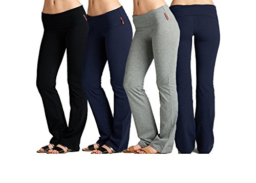 Unique Styles Fold-Over Waistband Stretchy Cotton Blend Yoga Pants (Small, 3 Pack:1-Black, 1-Navy, 1-Heather Grey) by Unique Styles