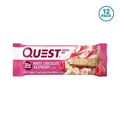 Quest Nutrition White Chocolate Raspberry Protein Bar, High Protein, Low Carb, Gluten Free, Keto Friendly, 12 Count (Best White Chocolate Cake)