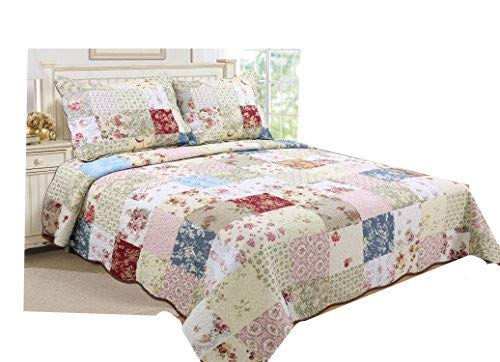 ALL FOR YOU 3-Piece 100% Cotton Reversible Bedspread/Coverlet/Quilt Set- Oversize(to The Floor) -Real Patchwork (King, Cal ()