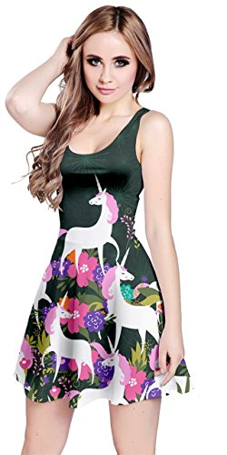 Womens Unicorn (CowCow Womens Secret Garden Unicorn Sleeveless Dress, Black - M)