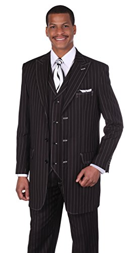 Mens Black Pinstriped - Men's 3pc Gangster Pin-striped Three Button Suit 5903 w/ Vest Milano Moda (54L, Black/White)