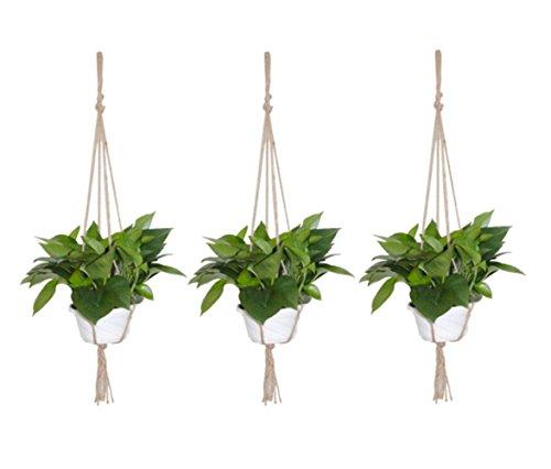 3Pack Amersumer Macrame Plant Hanger Macrame Holder Flower Pot Plant Holder For Outdoor Balcony Ceiling Patio Deck.(Hemp Rope)