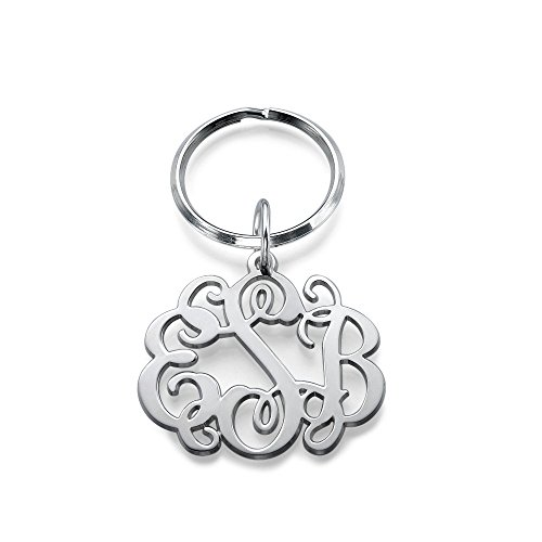 Sterling Silver Celebrity Monogram Keychain - Custom Made with Any Initial! (Initials Sterling Silver Keychain)