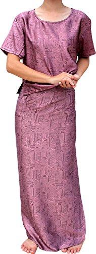 - RaanPahMuang Textured Silk Dress - Wrap Skirt and Summer Blouse Set, Medium, Puce Pink