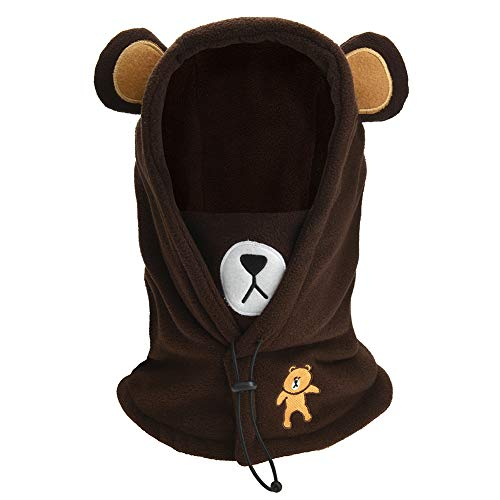 Boys Girls Winter Warm Windproof Balaclava Hat Ski Riding Face Mask Fleece Neck Warmer (Brown)