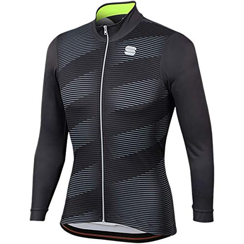 Sportful Moire Thermal Jersey - Men's Anthracite/Yellow Fluo, XL from Sportful
