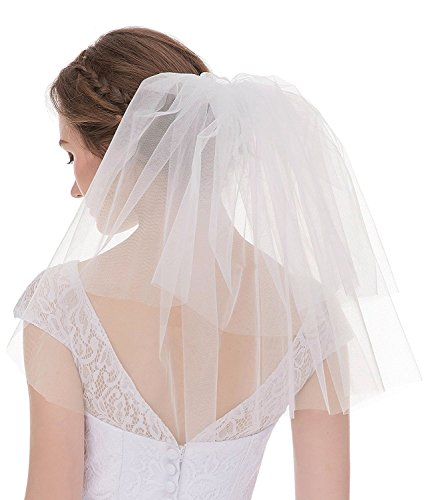Price comparison product image AIBIYI Short Mini Tulle Wedding Veils With Comb A19