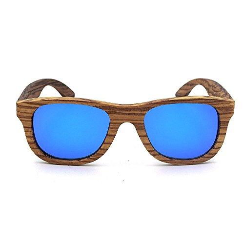 pour Fashion Shades Handcraft Couleur de des Rimmed Gris Bleu Yeux Zebra UV400 Gu Unisexe Retro lentille Lunettes Adulte de Soleil Protection Wood Peggy Protection Couleur 5Ewnaq7x