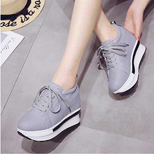Zapatillas Opción Para Fondo Gruesos Cotidiana Mejor Vida Sneakers Mujer Zapatos Deportivos Mujer De Encaje Casual La Alto moda la Comodos B Lona Plataforma top wXBHqU7z