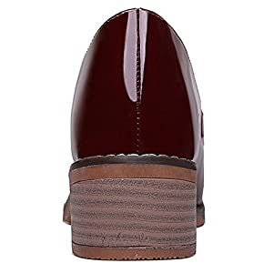 T&Mates Womens British Style Comfort Round Toe Slip-Ons Glazed PU Leather Low Heel Loafers (8 B(M)US,Red)