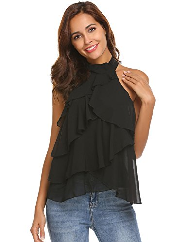 Concep Women's Party Blouse Halter Top Sleeveless Chiffon Shirts Layered Flowy Tank Top(Black M)