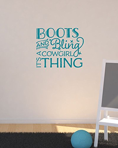 "Wall Decor Plus More WDPM3794 Boots & Bling It'S A Cowgirl Thing Western Wall Decal Quotes For Girls Room, Teal, 23x19"","