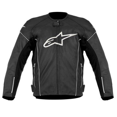 Alpinestars TZ-1 Reload Perforated Leather Men's Riding Jacket (Black/White, Size - Tz1 Jacket Alpinestars Leather