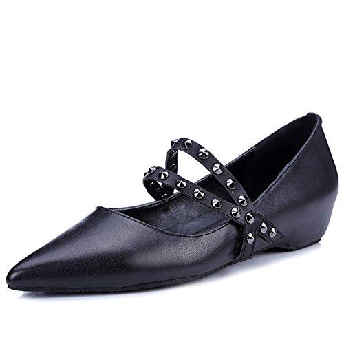 Nine Seven Cow Leather Women's Pointed Toe Hidden Low Heel Leopard Handmade Mary Jane Flats (8, black)