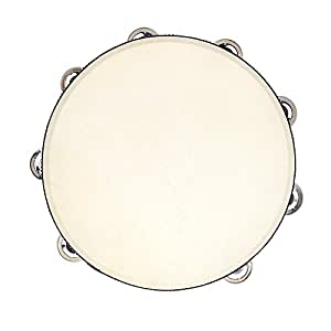 "Andoer 10"" Hand Held Tambourine Drum Bell Birch Metal Jingles Percussion Musical Educational Toy Instrument for KTV Party Kids Games"