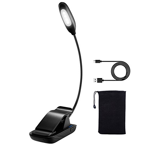 Clip on Reading Light, TopElek LED Reading Lamp, USB Rechargeable, Eye Protection Brightness, Mini Book Light (Cool White) with Portable Bag for Bed Reading, Kindle, Computer, Travel by TopElek