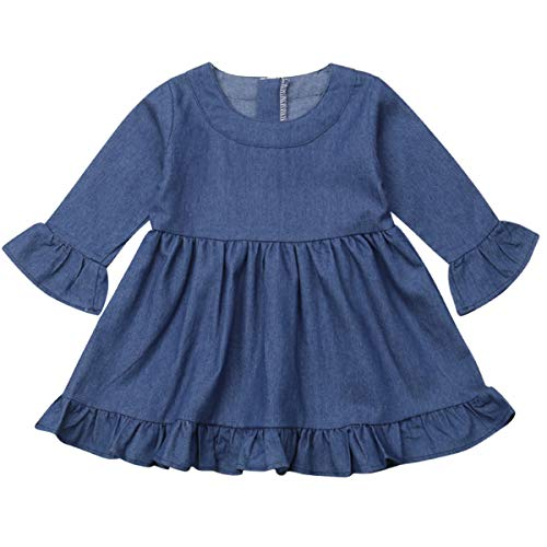 - Annvivi Fall & Winter Baby Girls Dark Natural Olive Linen Ruffled Pullover Dress (Blue(Denim), 3-4 Years)