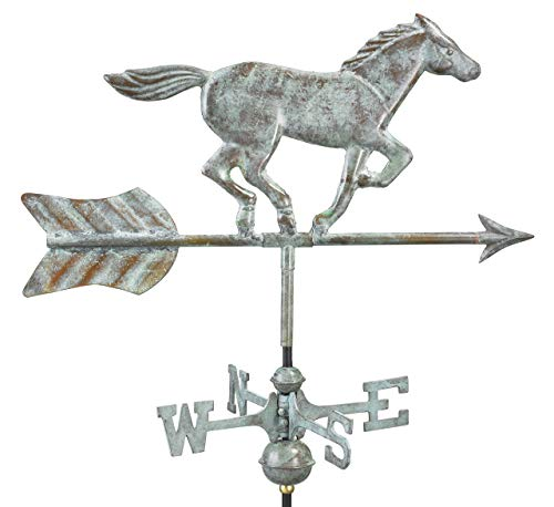 Good Directions 801V1G Horse Garden Weathervane, Blue Verde Copper with Garden Pole - Arrow Blue Weathervane