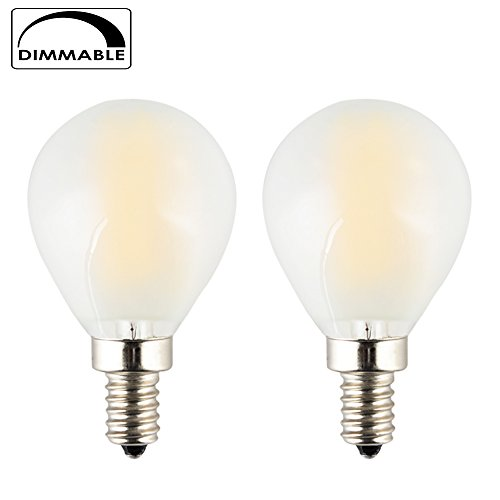 4w Mini (OPALRAY 4W Dimmable Mini Globe Bulb with Filament LED Tungsten, G14(G45) Frosted Glass Shape, E12 Candelabra Base Lamp, Warm White 2700K 400LM, 40W Incandescent Replacement, 2-Pack)