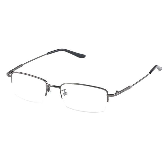 Hzjundasi Moitié Mémoire Métal Cadre Myopie Lunettes Myope Des lunettes  Anti-fatigue Résine Lentille -1.0~-6.0 (Ces sont pas lunettes de lecture)   ... 74377808ee1