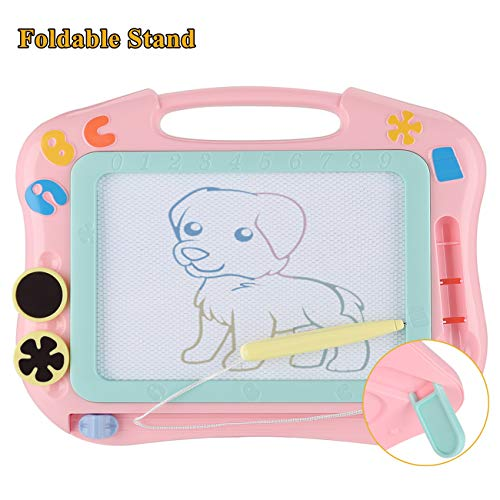DUTISON Large Magnetic Drawing Board for Kids, Colorful Magnet Doodle Boards, Erasable Writing Sketching Pad, Education Toys for Toddlers 4 Colors Board with Pen- Pink, Blue